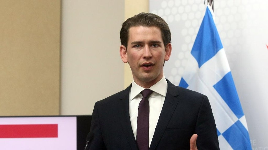 Sebastian Kurz, Foreign Minister of Austria, addresses the media after a meeting with his counterpart from Greece, Nikos Kotzias, at the foreign ministry in Vienna, Austria, Wednesday, May, 11, 2016. (AP Photo/Ronald Zak)