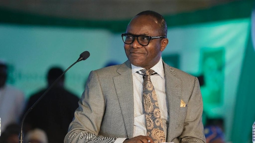 In this photo taken Monday April 25, 2016, Nigeria Petroleum Minister Ibe Kachikwu attends a function in Lagos, Nigeria. Nigeria's government announced Wednesday May 11, 2016 it is lifting a controversial subsidy on gas, nearly doubling the price amid a massive fuel shortage and militant attacks on oil installations in Africa's biggest petroleum producer. (AP Photo/Sunday Alamba)