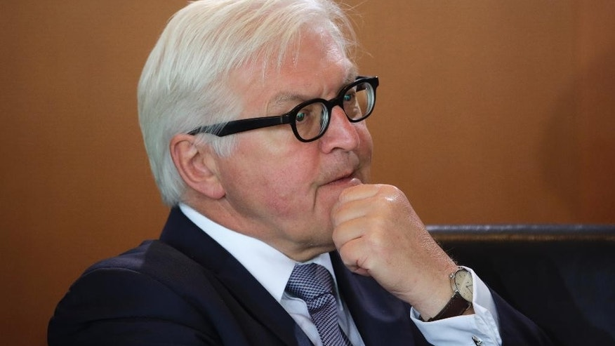 German Foreign Minister Frank-Walter Steinmeier attends the cabinet meeting of the German government at the chancellery in Berlin, Germany, Wednesday, May 11, 2016. (AP Photo/Markus Schreiber)