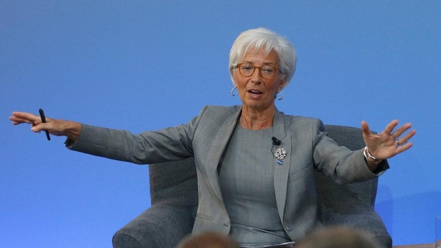 Christine Lagarde, Managing Director of the International Monetary Fund, speaks during a panel discussion at the Anti-Corruption Summit in London, Thursday, May 12, 2016. David Cameron has gathered leaders, civil-society groups and representatives of banks and financial institutions at Thursday's conference with the goal of producing a strong global declaration against financial wrongdoing. (AP Photo/Frank Augstein, Pool)