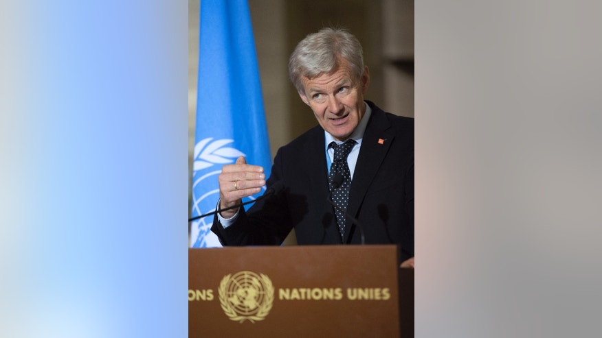 Jan Egeland, Senior Advisor to the United Nations Special Envoy for Syria, speaks about the International Syria Support Group's Humanitarian Access Task Force, at the European headquarters of the United Nations, in Geneva, Switzerland, Thursday, May 12, 2016 (Martial Trezzini/Keystone via AP)