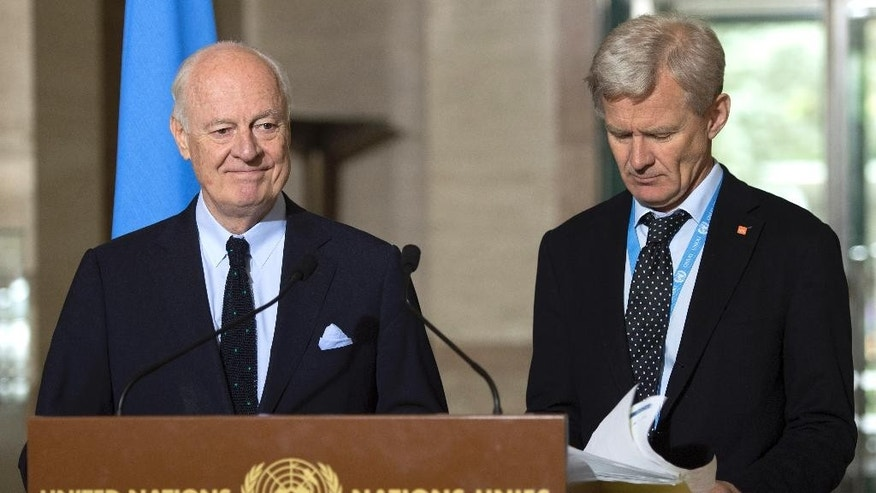 Staffan de Mistura, left, UN Special Envoy of the Secretary-General for Syria, and Jan Egeland, right, Senior Advisor to the United Nations Special Envoy for Syria, speak about the International Syria Support Group's Humanitarian Access Task Force, at the European headquarters of the United Nations, in Geneva, Switzerland, Thursday, May 12, 2016.   (Martial Trezzini/Keystone via AP)