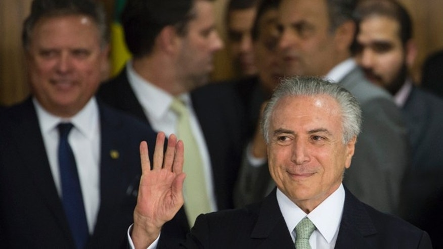 Brazil's acting President Michel Temer at Planalto in Brasilia, Brazil, Thursday, May 12, 2016.