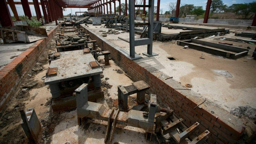 This March 21, 2016 photo shows a railroad factory in ruins after it was abandoned by its Chinese managers in Zaraza, Guarico state, Venezuela. Now all but abandoned, it has become a symbol of economic collapse and a strategic Venezuela-China relationship gone adrift. (AP Photo/Ariana Cubillos)