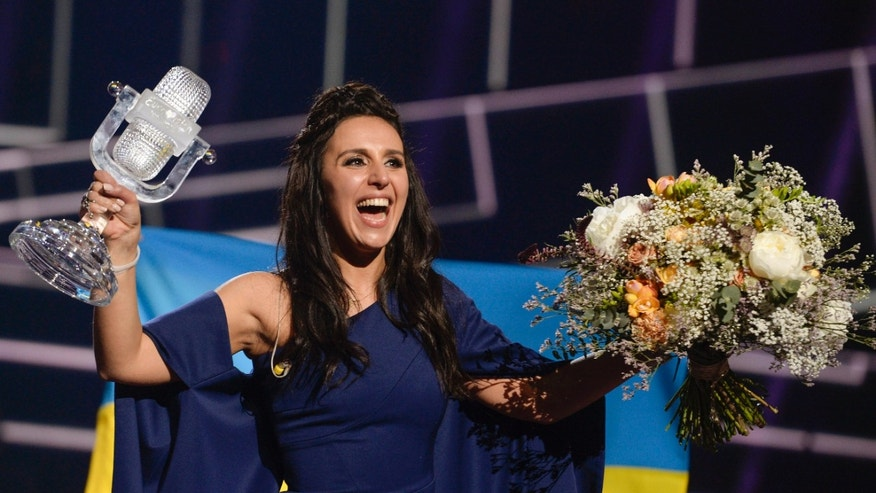May 15, 2016: Ukraine's Jamala smiles after winning the 2016 Eurovision Song Contest final at the Ericsson Globe Arena in Stockholm, Sweden.