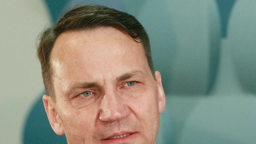 "Radek Sikorski, a former Polish foreign ministers, speaks to The Associated Press in Warsaw, Poland, on Monday May 16, 2016. Sikorski, who has strong ties to Britain and has been advocating for Britain to remain in the European Union, said he is ""very worried"" about the prospect of so-called Brexit. He said he fears it could weaken a political arrangement that has given Europe's its longest-ever period of peace and prosperity. (AP Photo/Czarek Sokolowski)"
