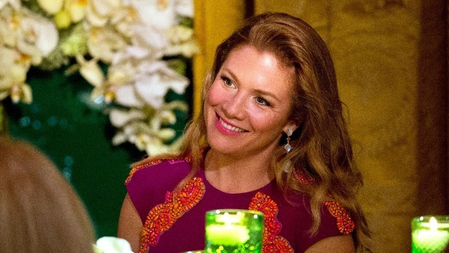 FILE - In this March 10, 2016, file photo, Sophie Gregoire Trudeau listens to President Barack Obama toast her husband, Canadian Prime Minister Justin Trudeau, during a State Dinner in the East Room of the White House in Washington. Trudeau's wife is being attacked by opposition parties and on social media for wanting extra staff to help manage her official duties. Trudeau spokesman Olivier Duchesneau said Monday, May 16, 2016, that Gregoire receives an extraordinarily high volume of correspondence and invitations. (AP Photo/Jacquelyn Martin, File)