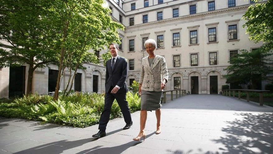 Managing Director of the International Monetary Fund Christine Lagarde meets with Britain's Chancellor George Osborne, prior to a press conference, in London, Friday, May 13, 2016. London's status as a global financial center could be eroded should Britain vote to leave the European Union in a June 23 referendum, the International Monetary Fund warned Friday. (Peter Nicholls/Pool photo via AP)