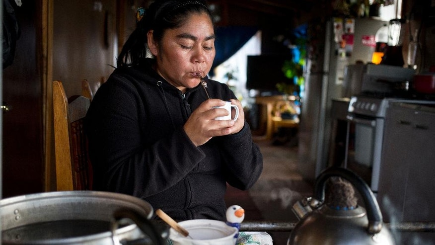 """In this May 10, 2016 photo, small scale fisherwoman Marisol Millaquien sips on a cup of mate, an herbal tea, in her home in the fishing village Quetalmahue, on Chile's Chiloe Island. Like many other residents, she's in disbelief of scientists who say that the red tide environmental disaster that's killing fish was caused by warmer temperatures stemming from this year's """"Godzilla"""" El Nino weather phenomenon. Instead, she believes that commercial salmon farms in Chile are to blame for dumping contaminated fish near the coast. (AP Photo/Esteban Felix)"""