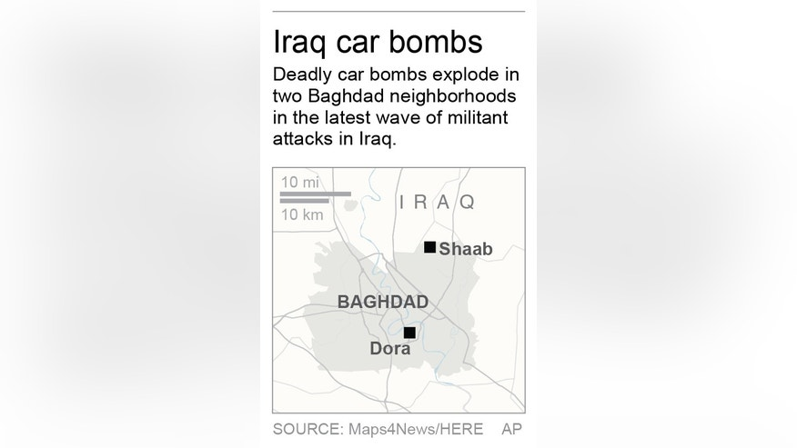 Map locates car bombs in Baghdad neighborhoods; 1c x 3 inches; 46.5 mm x 76 mm;