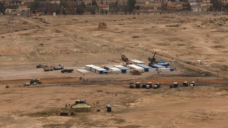 April 14, 2016: A Russian military camp is seen at the ancient city of Palmyra in the central city of Homs, Syria.