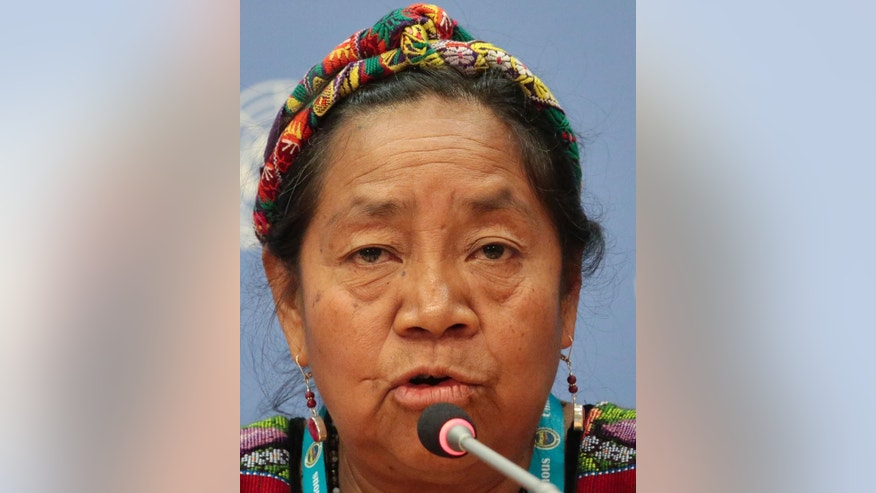 Rosalina Tuyuc, founder of the National Association of Guatemalan Widows, speaks during a press conference at the U.N. Permanent Forum on Indigenous Issues, Tuesday May 17, 2016 at U.N. headquarters. (AP Photo/Bebeto Matthews)