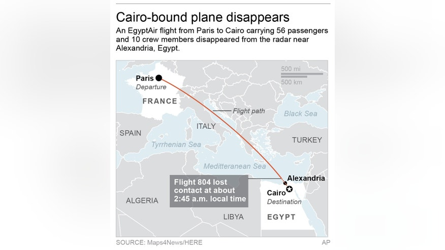 Map locates EgyptAir Flight 804's flight path and approximate location of disappearance; 2c x 3 inches; 96.3 mm x 76 mm;