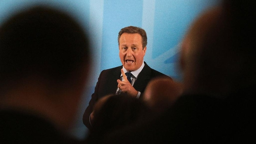 Britain's Prime Minister David Cameron addresses members of a World Economic Forum event focusing on Britain's  EU referendum in London, Tuesday, May 17, 2016. (AP Photo/Frank Augstein, Pool)