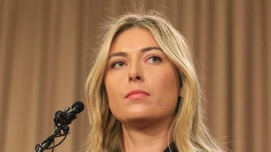 FILE - This is a Monday, March 7, 2016 file photo showing tennis star Maria Sharapova speakings about her failed drug test at the Australia Open during a news conference in Los Angeles. The head of the Russian Tennis Federation Shamil Tarpishchev said Maria Sharapova's failed doping test could spell the end of her career. . (AP Photo/Damian Dovarganes, File)