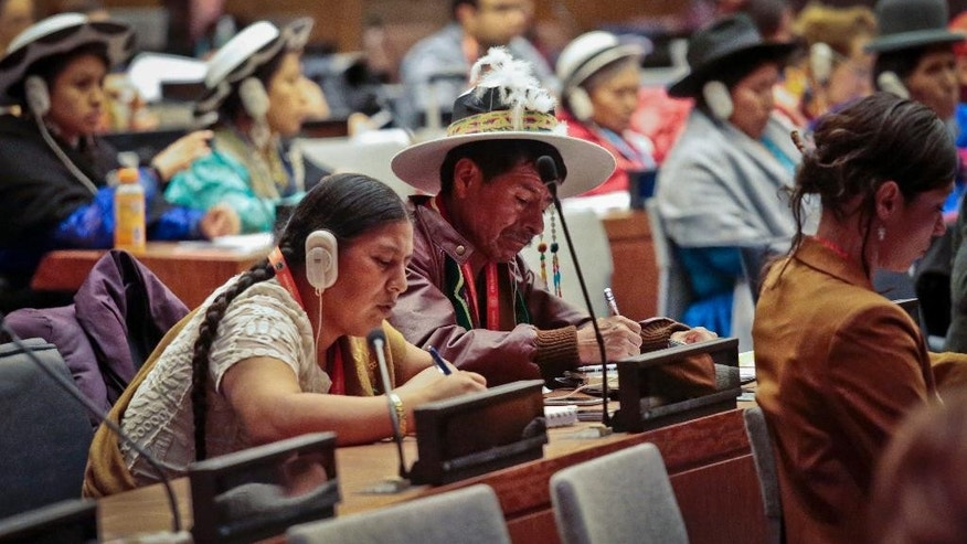In this May 16, 2016 photo, indigenous and human rights leaders participate in the 15th session of the U.N. Permanent Forum on Indigenous Issues at U.N. headquarters. Representatives from the most remote regions of the world cope with New York's bedlam and the U.N.'s bureaucracy as they attend a forum on indigenous issues. (AP Photo/Bebeto Matthews)