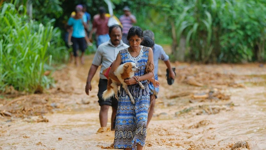 A Sri Lankan landslide survivor caries her dog as she walks on the mud after a landslide in Elangipitiya village in Aranayaka about 72 kilometers (45 miles) north east of Colombo, Sri Lanka, Wednesday, May 18, 2016. Soldiers and police used sticks and bare hands Wednesday to dig through enormous piles of mud covering houses in three villages hit by massive landslides in central Sri Lanka, with hundreds of families reported missing. (AP Photo/Eranga Jayawardena)