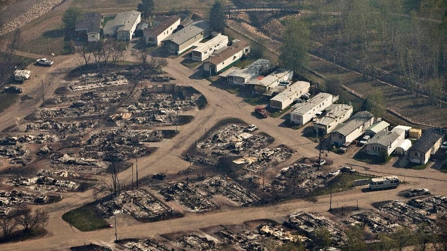 FILE - In this Friday, May 13, 2016 file photo, This aerial photo shows the charred remains of homes in wildfire-ravaged Fort McMurray, Alberta. More than 80,000 residents who fled Canada's main oil sands town because of a massive wildfire could return home starting on June 1 if conditions are deemed to be safe, officials said Wednesday, May 18, 2016. (Jason Franson /The Canadian Press via AP) MANDATORY CREDIT