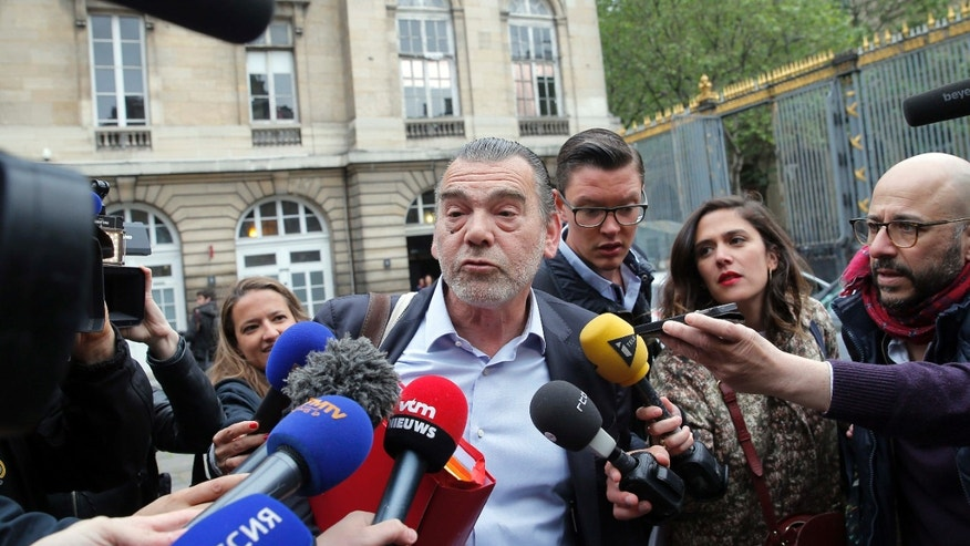 May 20, 2016: Frank Berton, lawyer of Paris attacks suspect Salah Abdeslam, addresses the media as he arrives at the Paris courthouse.