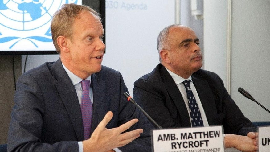 British Ambassador to the U.N. Matthew Rycroft , left, and Amr Abdellatif Aboulatta, Egypt's ambassador to the U.N. and President of the United Nations Security Council  address reporters at UN Headquarters in Nairobi, Kenya. Friday, May, 20, 2016, after meeting with president of Republic of Kenya, Uhuru Kenyatta.  Members of the United Nations Security Council are visiting Kenya, which has been the scene of multiple attacks by al-Qaida-linked extremists allegedly based in neighboring Somalia. (AP Photo/Sayyid Abdul Azim)