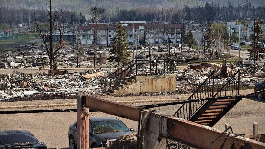 In this Friday, May 13, 2016 photo, the charred remains of various structures, buildings and vehicles litter the neighborhood of Abasand in wildfire-ravaged Fort McMurray, Alberta. More than 80,000 residents who fled Canada's main oil sands town because of a massive wildfire could return home starting on June 1 if conditions are deemed to be safe, officials said Wednesday, May 18, 2016. (Jason Franson /The Canadian Press via AP) MANDATORY CREDIT