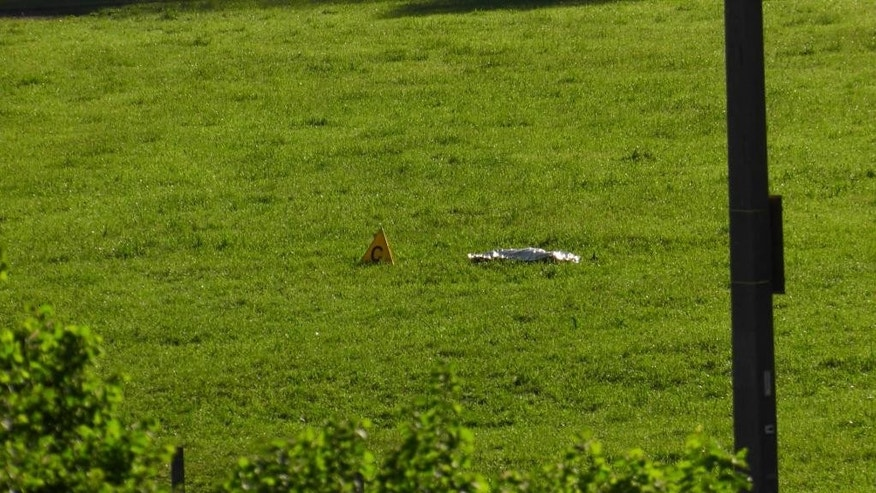 This image made from TV shows a body bag in a field as police and forensic staff searched for evidence at the scene of a shooting near Nenzing, Austria, Sunday May 22, 2016. A gunman fired shots early Sunday into a small crowd attending an open air concert organized by a local motorcycle club, killing two people and wounding others before shooting himself to death, police said. (Laendle.TV via AP)  AUSTRIA OUT