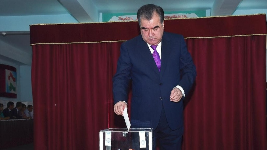Tajik President Emomali Rakhmon casts his ballot at a polling station in Dushanbe, Tajikistan, Sunday, May 22, 2016. Tajikistan holds a referendum on changing the constitution to allow Rakhmon to remain in office for life and to make it easier for his eldest son to succeed him as leader of the former Soviet republic in Central Asia. (Tajikistan Presidential Press Service via AP)