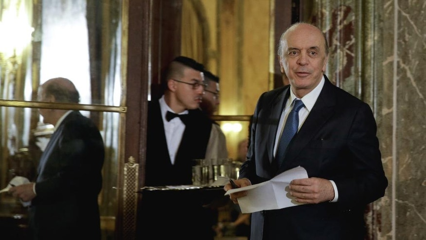 Brazil's acting Foreign minister Jose Serra arrives for a press conference in Buenos Aires, Argentina, Monday, May 23, 2016. Serra is on his first state visit since being appointed in the wake of Brazilian President Dilma Rousseff's impeachment. (AP Photo/Natacha Pisarenko)