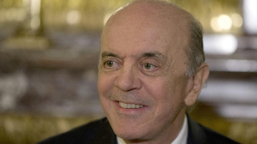 Brazil's acting Foreign minister Jose Serra smiles during a press conference in Buenos Aires, Argentina, Monday, May 23, 2016. Serra is on his first state visit since being appointed in the wake of Brazilian President Dilma Rousseff's impeachment. (AP Photo/Natacha Pisarenko)