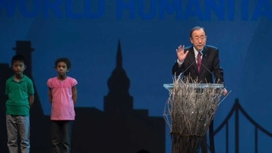 UN Secretary-General Ban Ki-moon makes introductory remarks at the opening ceremony of the first-ever World Humanitarian Summit, being held in Istanbul, Turkey, May 23-24, 2016. (UN Photo/Eskinder Debebe)