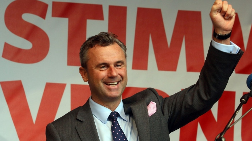 May 20, 2016: Norbert Hofer, presidential candidate for Austria's Freedom Party (FPOE) waves to supporters during his final election campaign event in Vienna