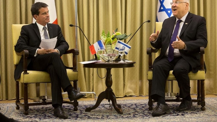 French Prime Minister Manuel Valls, left, speaks with Israel's President Reuven Rivlin at the President's residence in Jerusalem, Monday, May 23, 2016. Valls is on an official visit to the region. (AP Photo/Sebastian Scheiner)