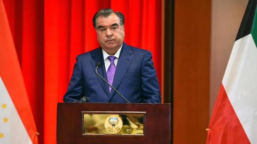 In this photo taken on Monday, May  16, 2016, Tajik President Emomali Rakhmon speaks during a meeting with the heads of exclusive companies in Dushanbe, Tajikistan. People in the Central Asian nation of Tajikistan have voted overwhelmingly to approve changes to the Constitution allowing the authoritarian president to rule indefinitely. Elections officials said Monday, May 23 that an initial count showed 94.5 percent of voters had supported amendments that included a provision to scrap presidential term limits. (Nakib Murodov/Tajikistan Presidential Press Service via AP)