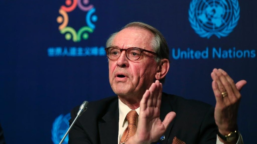 Jan Eliasson, UN Deputy Secretary-General, talks to members of the media during a news conference ahead of the World Humanitarian Summit, in Istanbul, Sunday, May 22, 2016. World leaders and representatives of humanitarian organizations from across the globe converge in Istanbul on May 23-24, 2016 for the first World Humanitarian Summit, focused on how to reform a system many judge broken. (AP Photo/Lefteris Pitarakis)