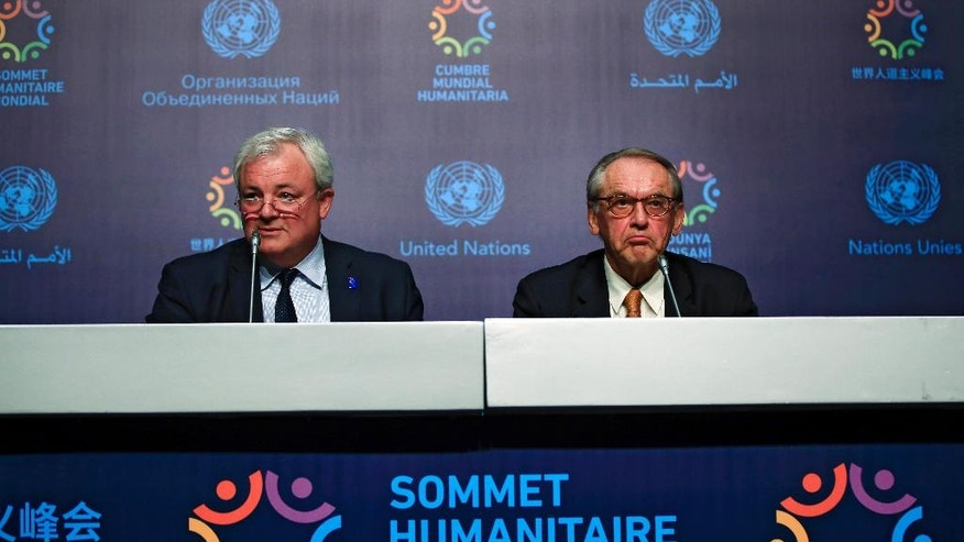 Jan Eliasson, right, UN Deputy Secretary-General, and Stephen O'Brien, left, UN Under-Secretary-General for Humanitarian Affairs listen to a question during a news conference ahead of the World Humanitarian Summit, in Istanbul, Sunday, May 22, 2016. World leaders and representatives of humanitarian organizations from across the globe converge in Istanbul on May 23-24, 2016 for the first World Humanitarian Summit, focused on how to reform a system many judge broken. (AP Photo/Lefteris Pitarakis)
