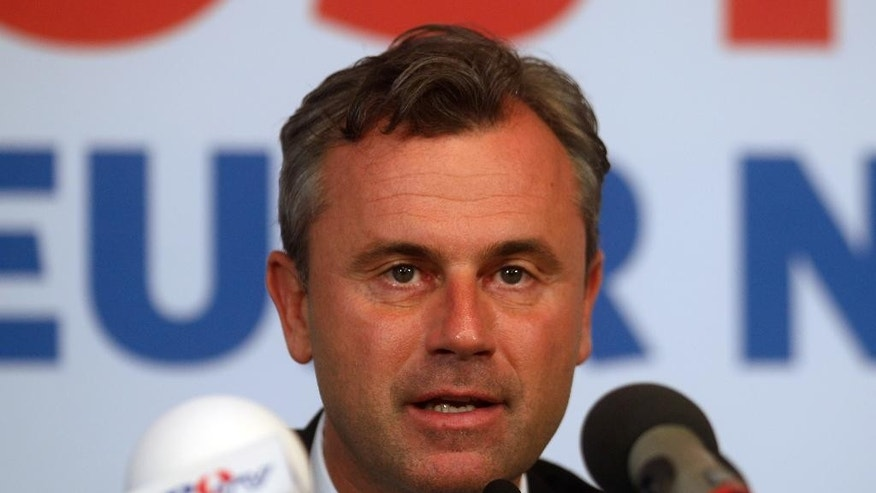 Norbert Hofer candidate for Austria's Presidency informs the press in Vienna, Austria, Tuesday, May 24, 2016. (AP Photo/Ronald Zak)