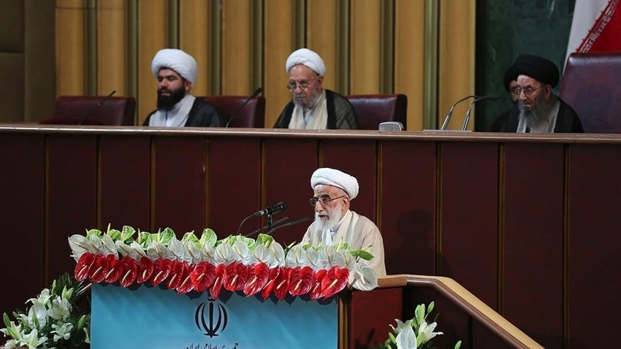 In this photo released by the official website of the office of the Iranian Presidency, hard-line Iranian cleric Ayatollah Ahmad Jannati speaks during inaugural meeting of the Assembly of Experts in Tehran, Iran, Tuesday, May 24, 2016. Jannati was chosen on Tuesday as speaker of the Assembly of Experts, a clerical body that is mainly tasked with selecting the country's supreme leader. The official IRNA news agency said 89-year-old Ayatollah Ahmad Jannati won 51 votes in the 88-seat Assembly and would serve as speaker for the next two years. (Iranian Presidency Office via AP)