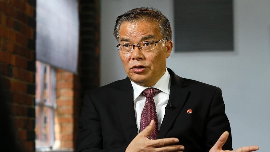 Hyun Hak Bong, North Korea's Ambassador to the UK, speaks during an interview in London, Tuesday, May 24, 2016. North Korea's ambassador to Britain says his country has no interest in presumptive Republican presidential nominee Donald Trump's offer to open nuclear talks with North Korean leader Kim Jong Un. Hyon Hak Bong said Tuesday that Pyongyang views Trump's offer as an electoral ploy that is not serious.  (AP Photo/Kirsty Wigglesworth)