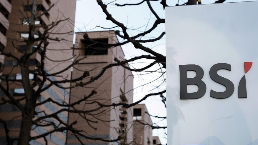 FILE - The March 31, 2010 file photo shows the logo of the Banca della Svizzera Italiana (BSI) in Lugano, Switzerland. According to media reports on May 24, 2016, the Monetary Authority of Singapore (MAS) ordered the closure of Switzerland's BSI Bank in Singapore.  (Karl Mathis/Keystone, file via AP)