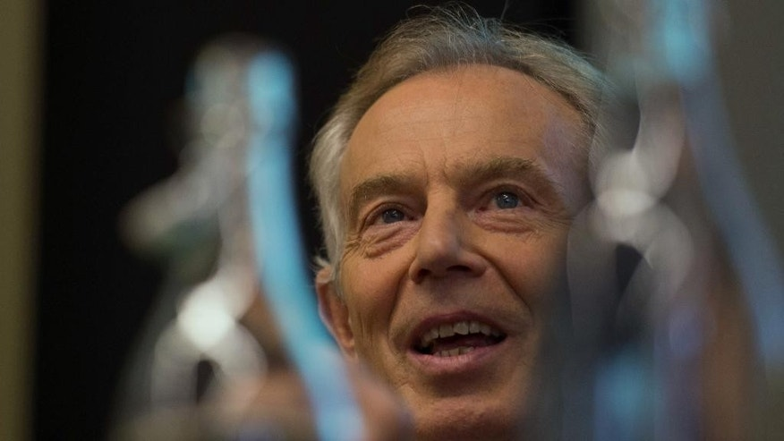 "Former British Prime Minister Tony Blair takes part in a discussion on Britain in the World,  in London, Tuesday May 24, 2016, where he acknowledged the invading nations had underestimated the ""forces of destabilization"" that would emerge in Iraq after the toppling of dictator Saddam Hussein.  Blair said Tuesday that the Islamic State group forces will be defeated only with a ground war involving Western troops. (Stefan Rousseau / PA via AP) UNITED KINGDOM OUT - NO SALES - NO ARCHIVES"