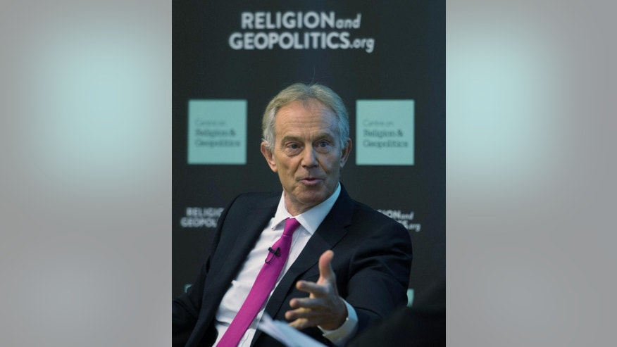 "Former British Prime Minister Tony Blair takes part in a discussion on Britain in the World, held in London, Tuesday May 24, 2016, where he acknowledged the invading nations had underestimated the ""forces of destabilization"" that would emerge in Iraq after the toppling of dictator Saddam Hussein.  Blair said Tuesday that the Islamic State group forces will be defeated only with a ground war involving Western troops. (Stefan Rousseau / PA via AP) UNITED KINGDOM OUT - NO SALES - NO ARCHIVES"