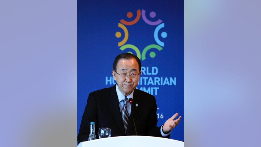 "United Nations Secretary General Ban Ki-moon speaks during a side event entitled: ""Mayor's Focus Session: Cities' Response to Migration"" at the the World Humanitarian Summit in Istanbul, Tuesday, May 24, 2016. World leaders and representatives of humanitarian organisations from across the globe gathered in Istanbul on May 23-24, 2016 for the first World Humanitarian Summit, focused on how to reform a system many judge broken. (Isa Terli/Pool Photo via AP)"