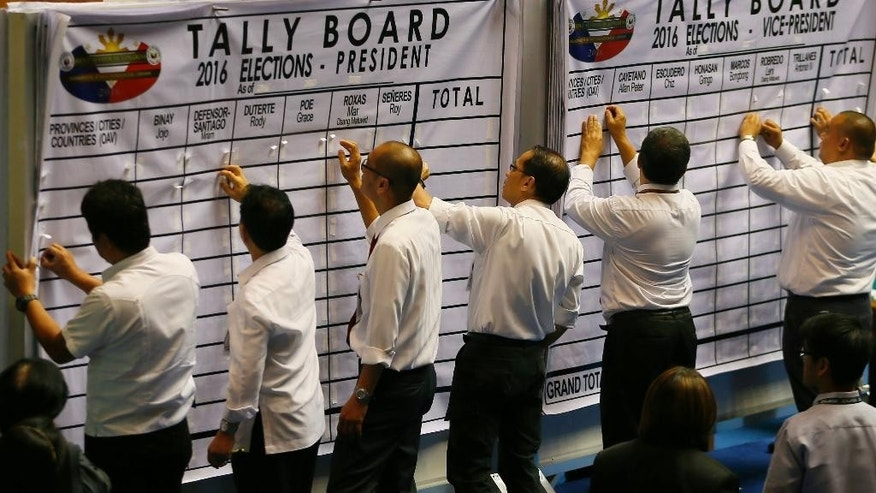 Philippine House and Senate election tribunal staff prepare the tally board prior to the start of the official count of votes cast in the May 9 presidential election Wednesday, May 25, 2016 in the Lower House in suburban Quezon city, northeast of Manila, Philippines. The Philippine Congress on Wednesday started the official count, though confirmation of Rodrigo Duterte's apparent victory may be slowed by disputes in the more closely fought vice presidential race. (AP Photo/Bullit Marquez)