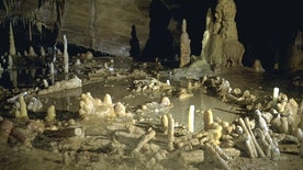 This is an undated image released by CNRS on Wednesday May 25, 2016 of stone rings inside a cave on Bruniquel in France. Scientists say that a pair of mysterious stone rings found deep inside a French cave was probably built by Neanderthals about 176,500 years ago, proving that our ancient cousins were capable of more complex behavior than previously thought. The structures were made from hundreds of column-shaped mineral deposits, called stalagmites, that were chopped to a similar length and laid out in two oval patterns up to 40 centimeters (16 inches) inches high. (Michel Soulier/CNRS via AP)
