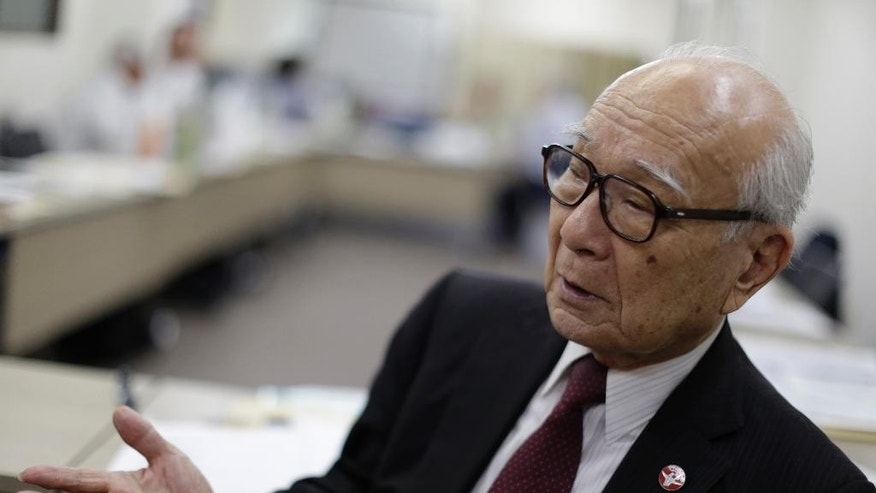 In this May 11, 2016 photo, Terumi Tanaka, secretary general of Japan Confederation of A-and H-bomb Sufferers Organizations, speaks during an exclusive interview with The Associated Press in Tokyo. The debate over whether U.S. President Barack Obama should apologize to Japanese survivors of America's atomic bombings in World War II made Tanaka think: What about his own government? Tanaka was 13 when the U.S. dropped its second atomic bomb on Nagasaki city on Aug. 9, 1945, three days after the first on Hiroshima.(AP Photo/Eugene Hoshiko)