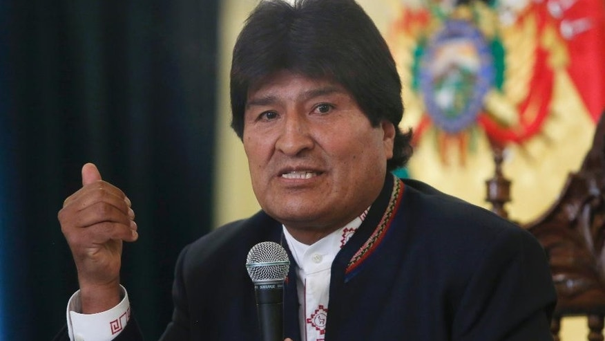 FILE - In this Feb. 24, 2016 file photo, Bolivia's President Evo Morales speaks during a press conference at the government palace in La Paz, Bolivia. Morales has failed to convince some of his biggest political allies that he should be allowed to remain in power. Powerful unions in the Andean country said Thursday, May 26, 2016 that Morales should focus on solving growing social conflict instead of seeking another term. (AP Photo/Juan Karita, File)