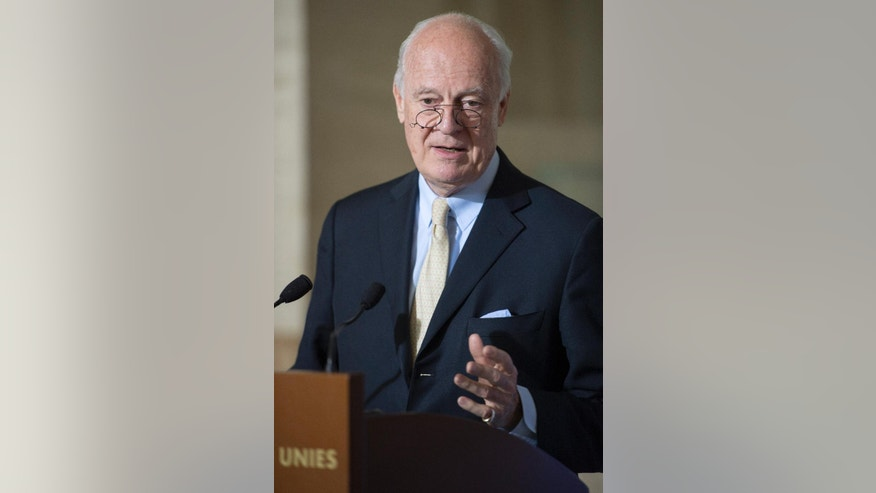 Staffan de Mistura, UN Special Envoy for Syria, speaks during a news conference at the European headquarters of the United Nations, in Geneva, Switzerland, Thursday, May 26, 2016. De Mistura says he'll speak to the U.N. Security Council on Thursday and announce afterward plans for a resumption of stalled peace talks between the government and the opposition. (Martial Trezzini/Keystone via AP)