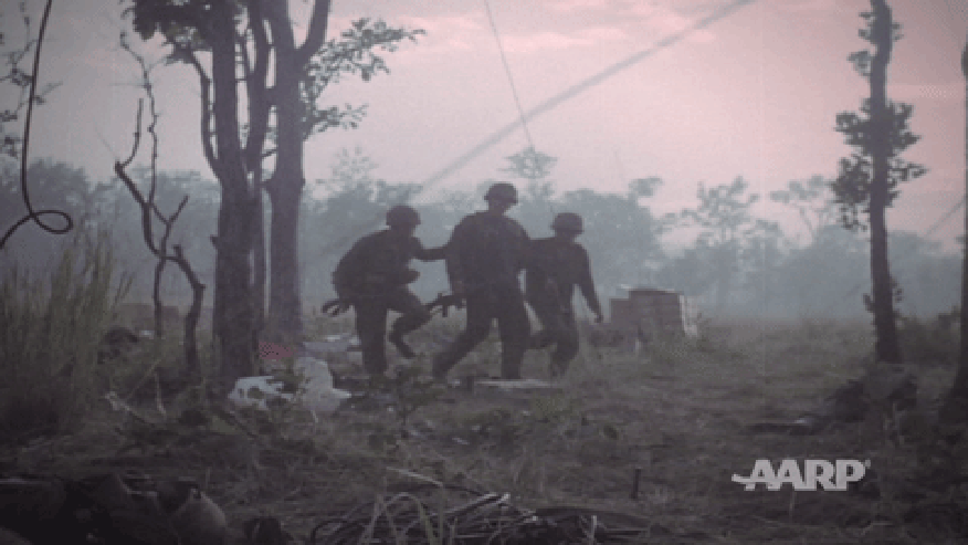 Troops during the battle of LZ X-Ray.
