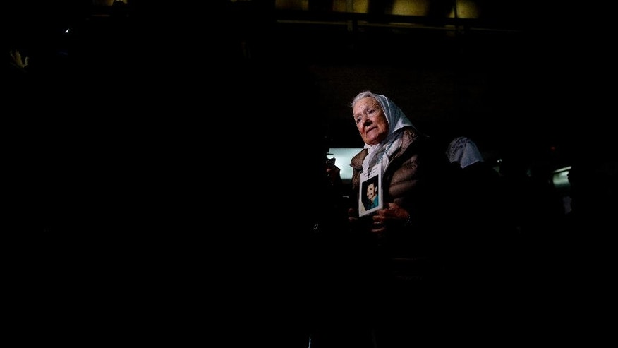 Nora de Cortinas, president of the Argentine group Mothers of the Plaza de Mayo, talks to journalists before entering federal court to hear the sentence for former military officers in Buenos Aires, Argentina, Friday, May 27, 2016. A court in Argentina will deliver the sentence on a long-awaited human rights trial focused on Operation Condor, a secret operation launched by six South American dictators in the 1970's that was a coordinated effort to track down their enemies and eliminate them. (AP Photo/Natacha Pisarenko)