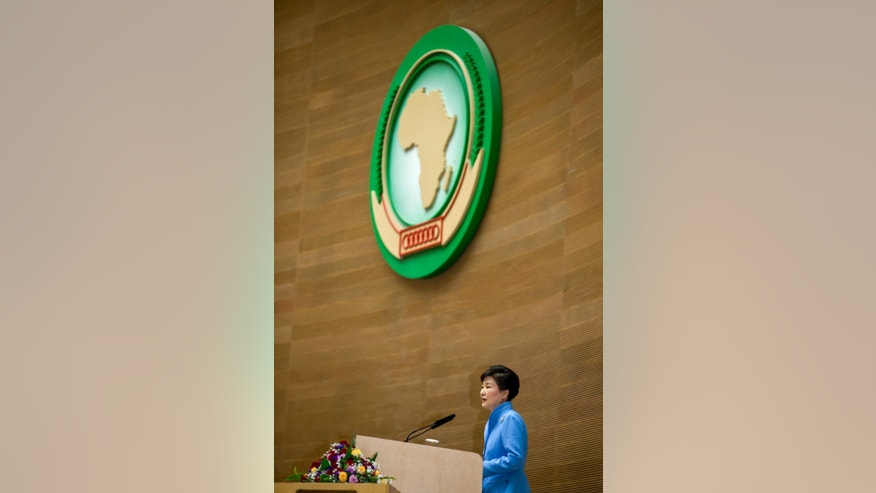South Korea's President Park Geun-hye delivers a speech to the African Union in Addis Ababa, Ethiopia Friday, May 27, 2016. South Korea's president, who is on a three-nation visit to Africa, is urging African leaders to support international efforts seeking to denuclearize North Korea. (AP Photo/Mulugeta Ayene)